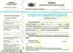 Evaluari de competente profesionale -certificari diplome