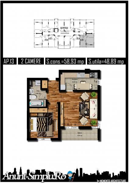 Apartament 2 camere, 49 mp, decom, Auchan Militari