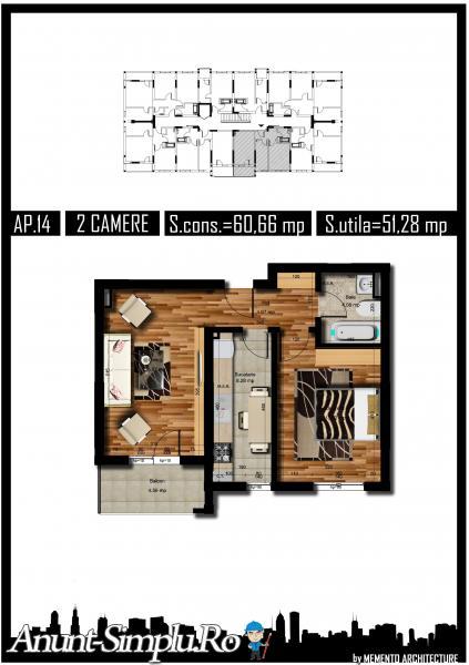 Apartament 2 camere, decomandat, 51mp, Preciziei
