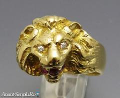 Inel vintage aur 18k cap leu cu diamante si rubin