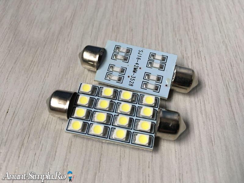 LED-uri 42MM / 12V / 6000K / Pure White / Alb Pur / NOI