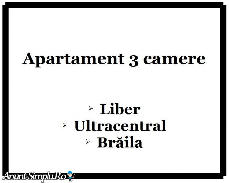 Apartament 3 camere, Braila, zona ultracentrala, proprietar