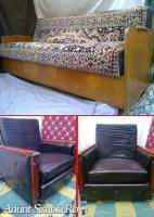 Canapea extensibila si fotoliu pe role handmade